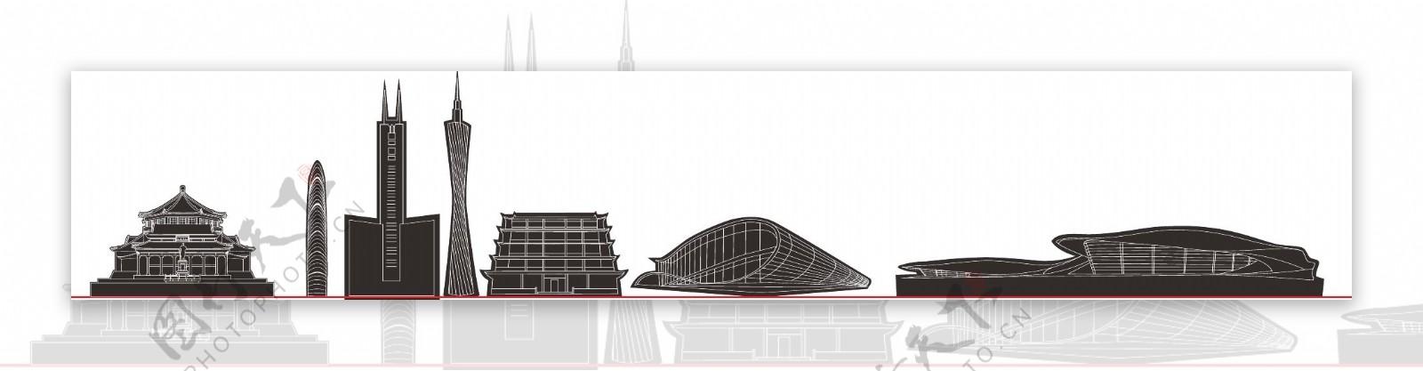 广州标志性建筑线稿图片