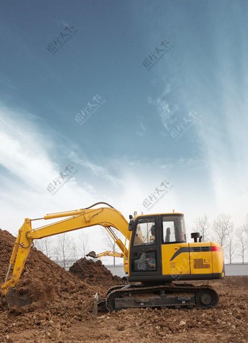 挖掘机工地作业图片