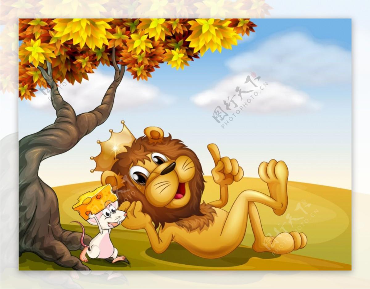 卡通狮子与美丽自然风景矢量素材